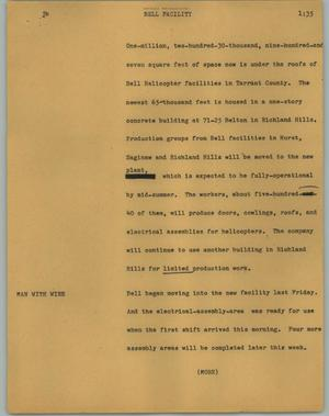 Primary view of object titled '[News Script: Bell facility]'.