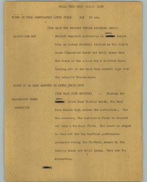 Primary view of object titled '[News Script: Drill team show]'.