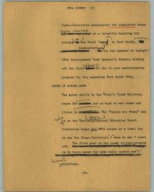 Primary view of object titled '[News Script: YMCA Dinner]'.