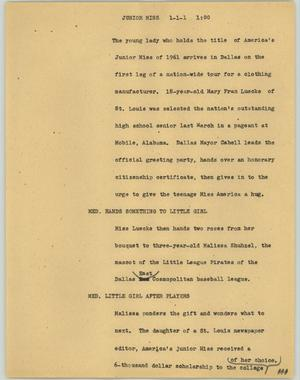 Primary view of object titled '[News Script: Junior Miss]'.