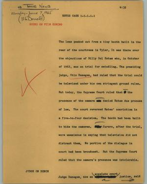 Primary view of object titled '[News Script: Estes case]'.