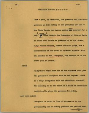 Primary view of object titled '[News Script: Creighton honored]'.