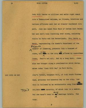 Primary view of object titled '[News Script: Miss Cotton]'.
