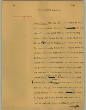 Primary view of object titled '[News Script: Spy for pancho]'.