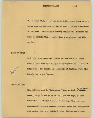 Primary view of object titled '[News Script: Dorothy Collins]'.