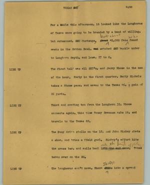 Primary view of object titled '[News Script: Texas SMU]'.