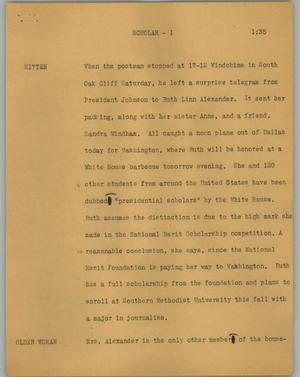 Primary view of object titled '[News Script: Scholar]'.