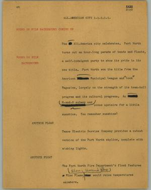 Primary view of object titled '[News Script: All-American City]'.