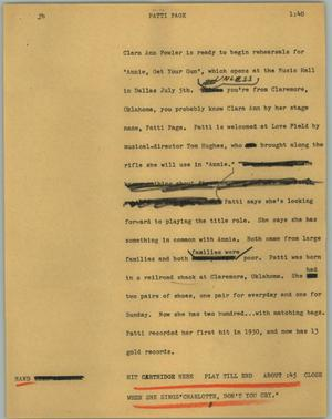 Primary view of object titled '[News Script: Patti Page]'.
