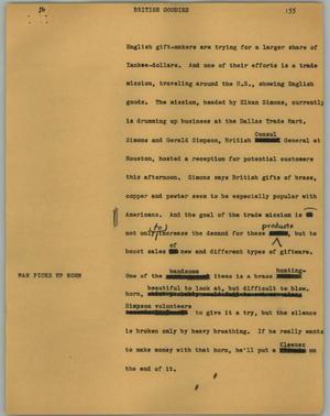 Primary view of object titled '[News Script: British goodies]'.