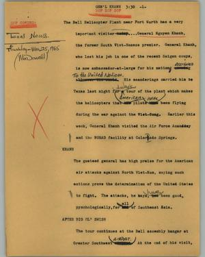 Primary view of object titled '[News Script: Gen'L Khanh]'.