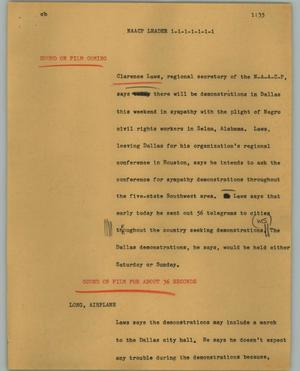 Primary view of object titled '[News Script: NAACP leader]'.