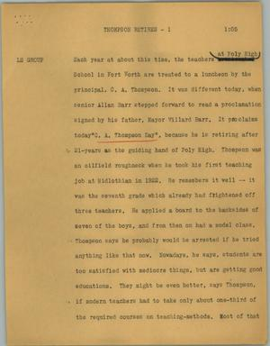 Primary view of object titled '[News Script: Thompson retires]'.