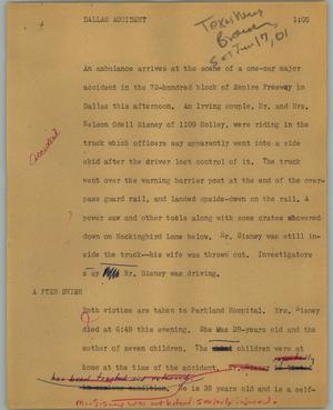 Primary view of object titled '[News Script: Dallas accident]'.