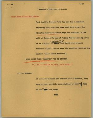 Primary view of object titled '[News Script: Manatee given zoo]'.