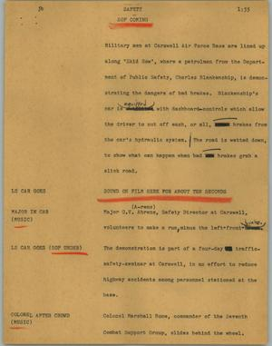 Primary view of object titled '[News Script: Safety]'.