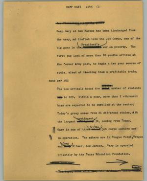 Primary view of object titled '[News Script: Camp Gary]'.