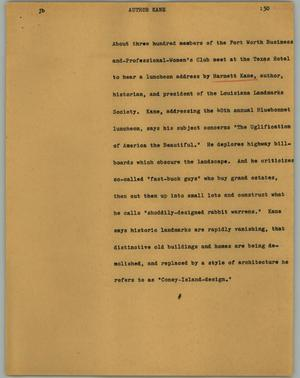 Primary view of object titled '[News Script: Author Kane]'.