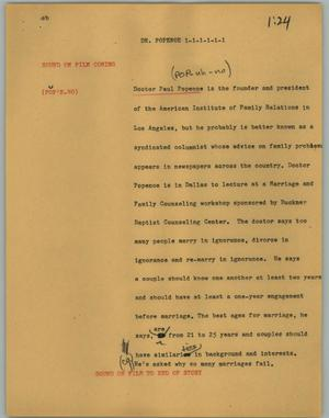 Primary view of object titled '[News Script: Dr. Popenoe]'.