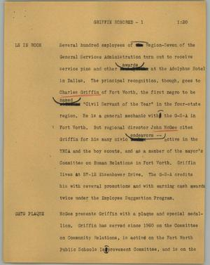 Primary view of object titled '[News Script: Griffin honored]'.