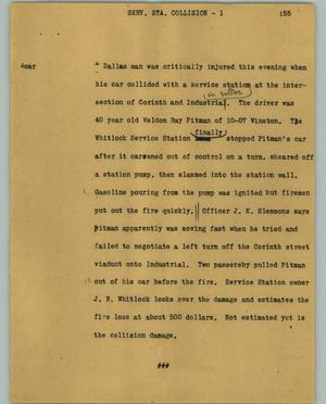 Primary view of object titled '[News Script: Serv. sta. collision]'.