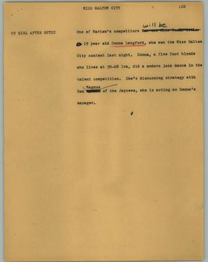 Primary view of object titled '[News Script: Miss Haltom City]'.