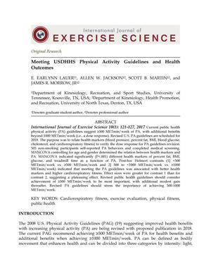 Primary view of object titled 'Meeting USDHHS Physical Activity Guidelines and Health Outcomes'.