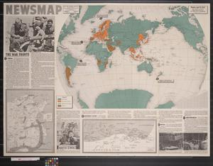Primary view of object titled 'Newsmap. Monday, April 19, 1943 : week of April 9 to April 16, 188th week of the war, 70th week of U.S. participation'.