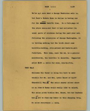 Primary view of object titled '[News Script: Sale]'.