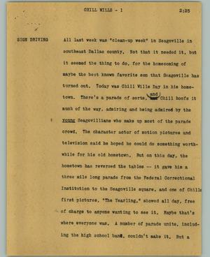 Primary view of object titled '[News Script: Chill Wills]'.