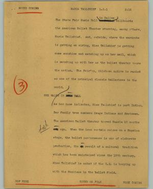 Primary view of object titled '[News Script: Maria Tallchief]'.
