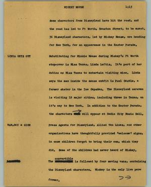 Primary view of object titled '[News Script: Mickey Mouse]'.