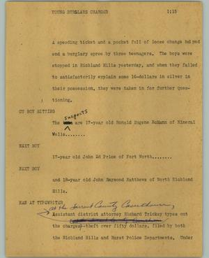Primary view of object titled '[News Script: Young burglars charged]'.