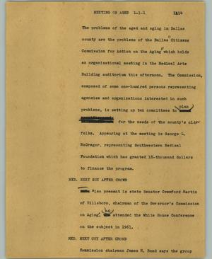 Primary view of object titled '[News Script: Meeting on aged]'.