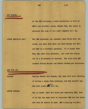 Primary view of object titled '[News Script: Fry]'.