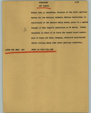 Primary view of object titled '[News Script: Considine]'.