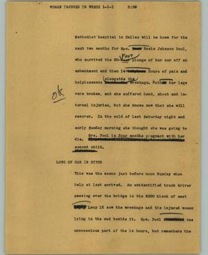 Primary view of object titled '[News Script: Woman injured in wreck]'.