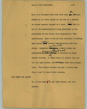 Primary view of object titled '[News Script: Dallas fire department]'.