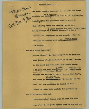 Primary view of object titled '[News Script: Robbers shot]'.
