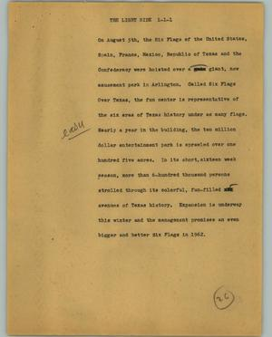 Primary view of object titled '[News Script: The light side]'.