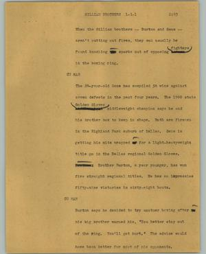 Primary view of object titled '[News Script: Gilliam brothers]'.