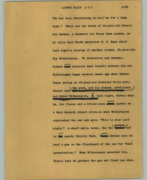 Primary view of object titled '[News Script: Airman slain]'.