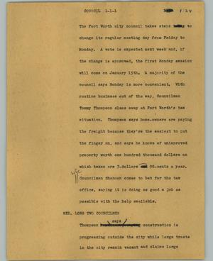 Primary view of object titled '[News Script: Council]'.