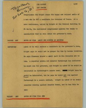 Primary view of object titled '[News Script: Jim Wright]'.