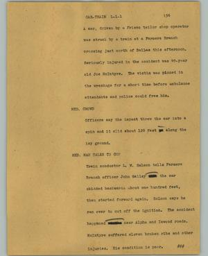 Primary view of object titled '[News Script: Car-train]'.
