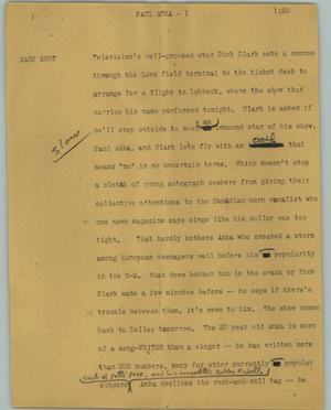 Primary view of object titled '[News Script: Paul Anka]'.