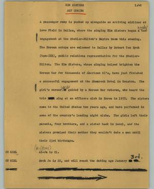 Primary view of object titled '[News Script: Kim sisters]'.