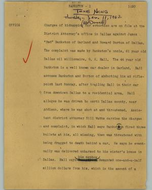 Primary view of object titled '[News Script: Bankston]'.