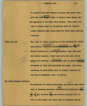 Primary view of object titled '[News Script: Downtown Days]'.