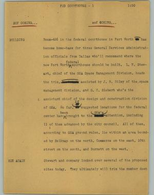 Primary view of object titled '[News Script: Fed courthouse]'.